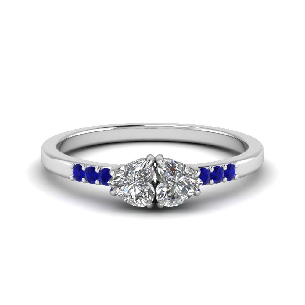 18K White Gold Blue Sapphire Promise Rings for Her