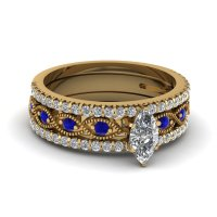 View Our Blue Sapphire Trio Wedding Ring Sets ...