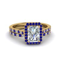 Emerald Halo Diamond Wedding Set