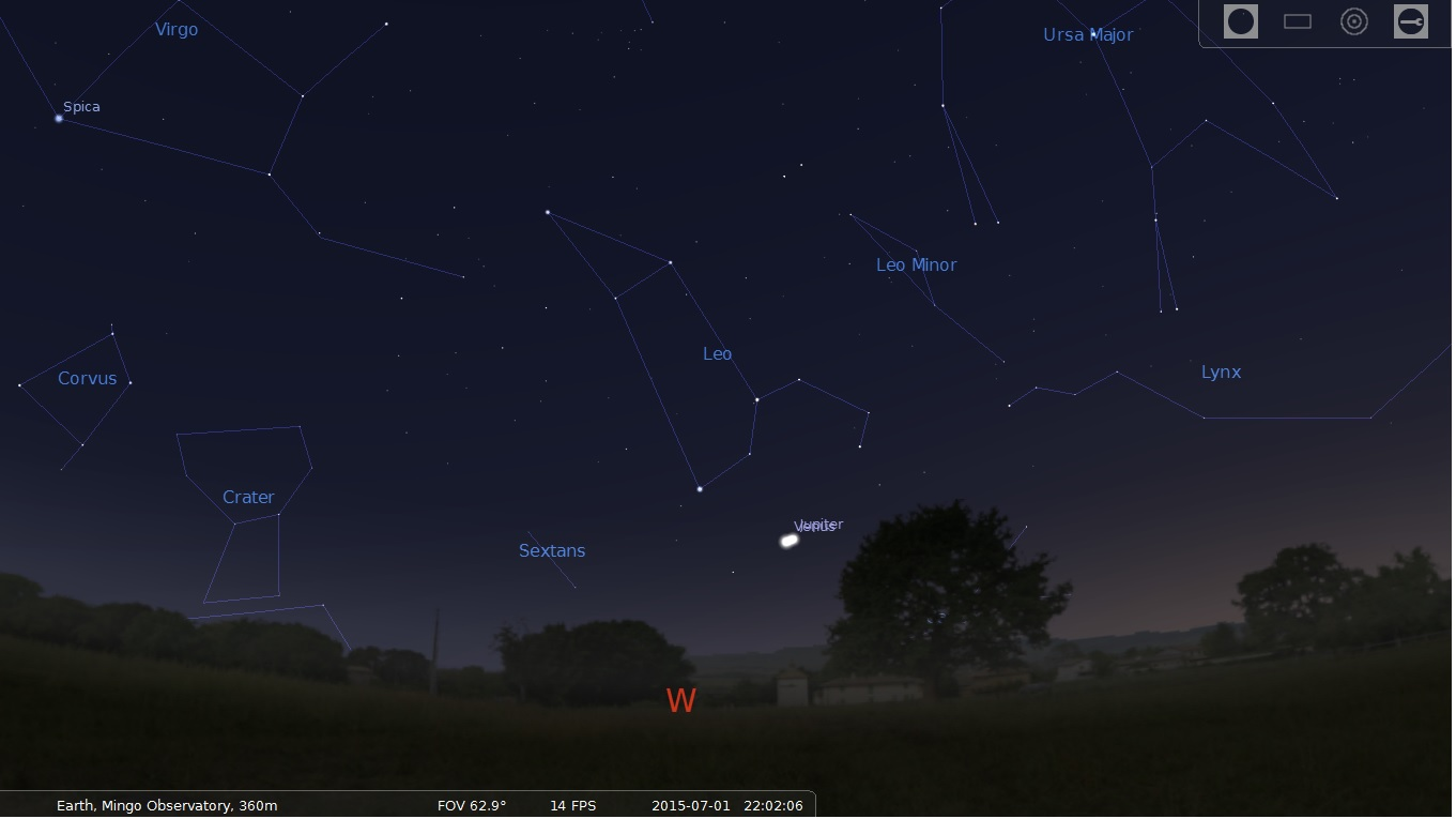Jupiter and Venus, 3 Degree Conjunction, July 1, 2015, Stellarium Screen Capture