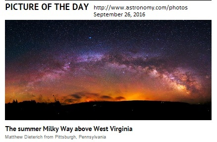 Summer Milky Way Over West Virginia by Matt Dieterich wins Astronomy Magazine Picture of the Day , September 26, 2016.