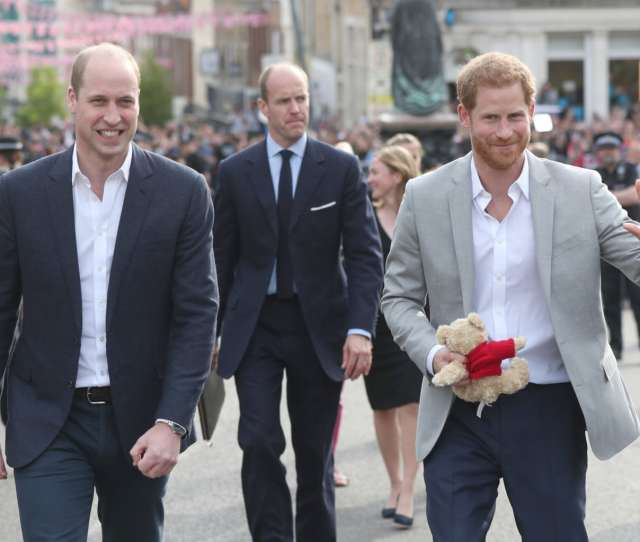 Windsor England May  L R Prince William Duke Of Cambridge And Prince Harry Greet Members Of The Public As They Embark On A Walkabout Ahead Of The