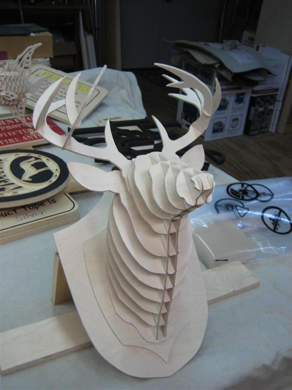 Deer Head 3D puzzle dxf File Free Download  3axisco