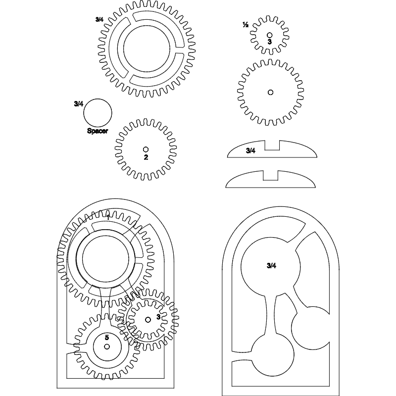 Wooden gear clock dxf File Free Download  3axisco