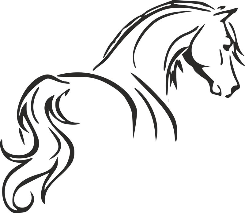 Tribal Tattoo Horse Outline Stencil dxf File Free Download