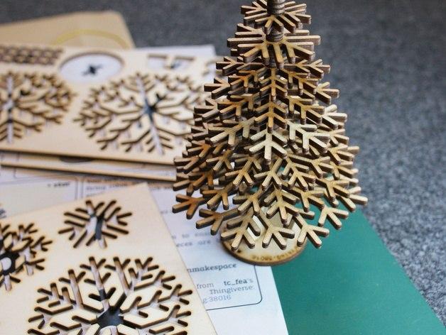 Lasercut Design Files For Snowflake Christmas Tree DXF