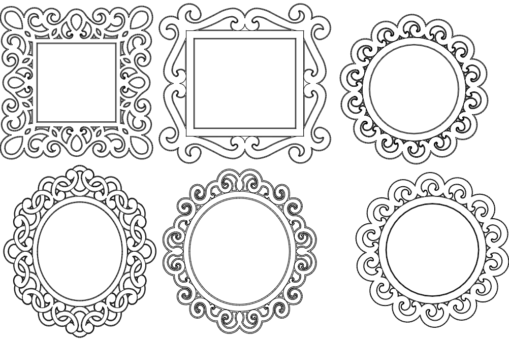 Mirror Frames dxf File Free Download  3axisco