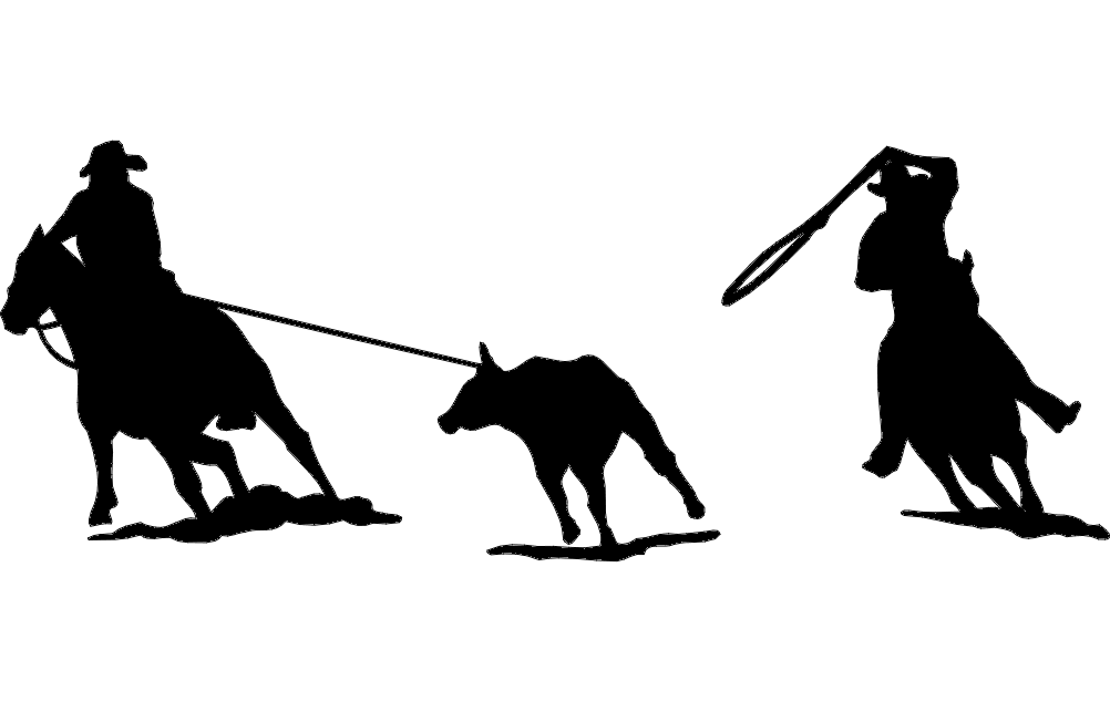 Rodeo Team Roping Silhouette Dxf File Free Download 3axis Co