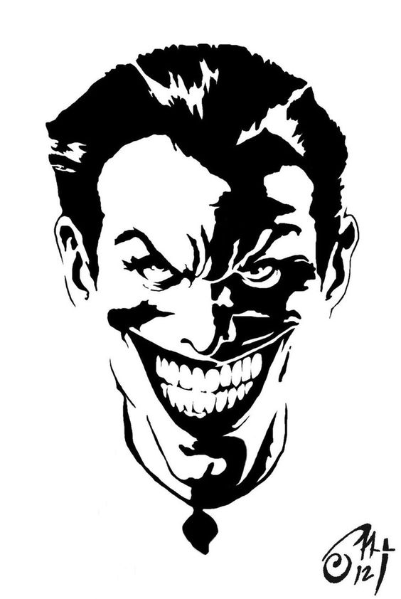 Black and white Joker Stencil vector dxf File Free Download  3axisco