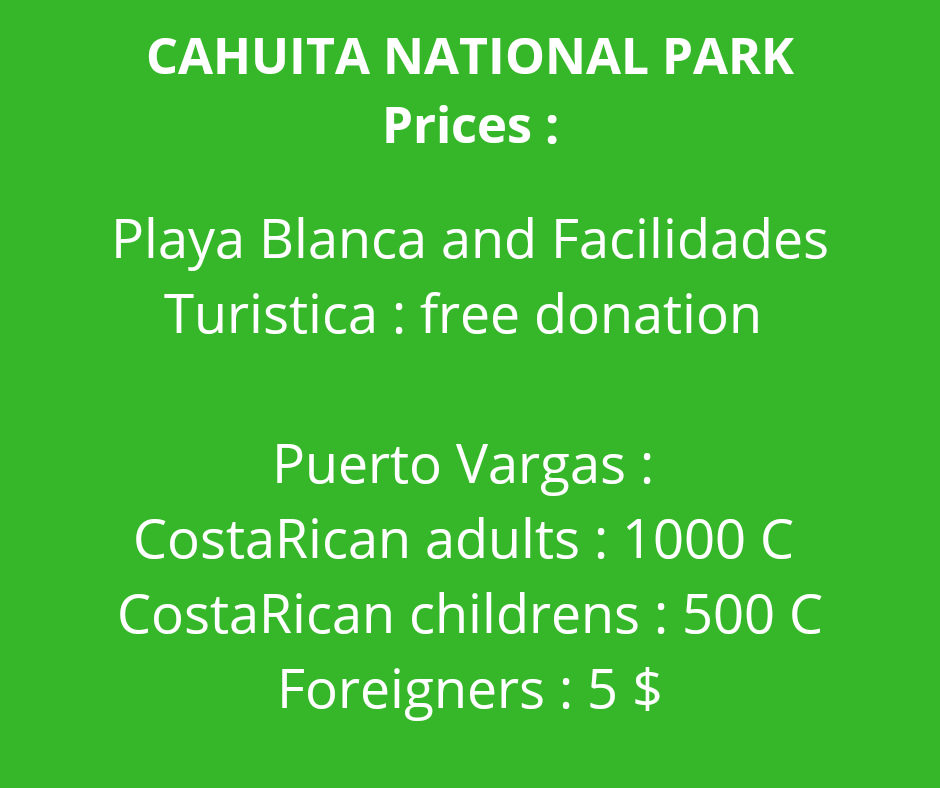 tarifs parc national cahuita