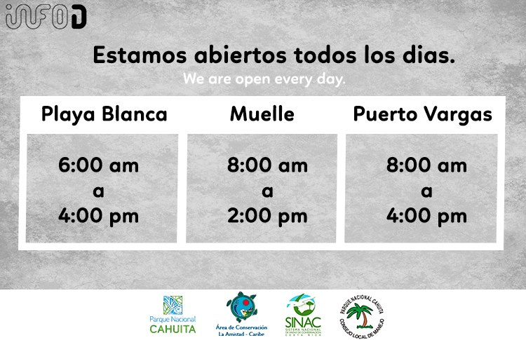 horaires parc national cahuita