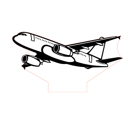 Airbus A320 3d illusion lamp plan vector file for CNC