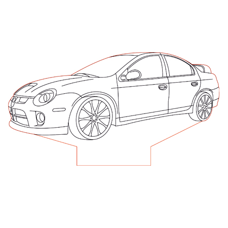 Dodge Neon srt4 3d illusion lamp plan vector file for CNC