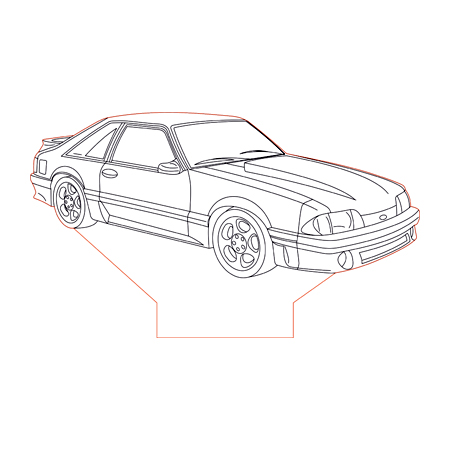 Ford Mustang GT87 Foxbody 3d illusion lamp plan vector