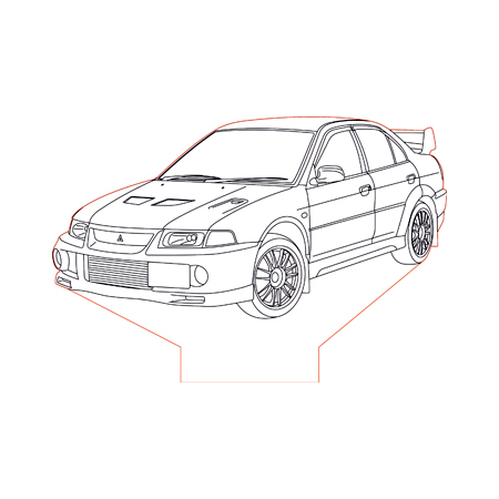 Mitsubishi Evo 6 3d illusion lamp plan vector file for CNC