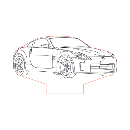 Nissan 240SX 3d illusion lamp plan vector file for CNC