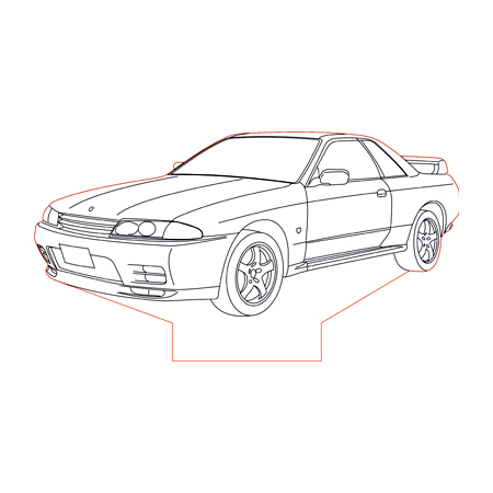 Nissan GTR R32 3d illusion lamp plan vector file for CNC