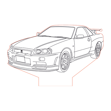 Nissan GTR R34 3d illusion lamp plan vector file for CNC
