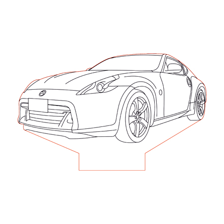 Nissan 370Z 3d illusion lamp plan vector file for CNC