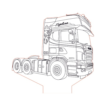 Scania truck 2 3d illusion lamp plan vector file for CNC