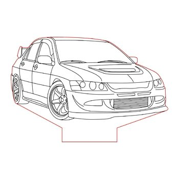 Mitsubishi Evolution 8 3d illusion lamp plan vector file