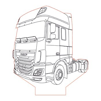 DAF XF 106 truck 3d illusion lamp plan vector file for CNC
