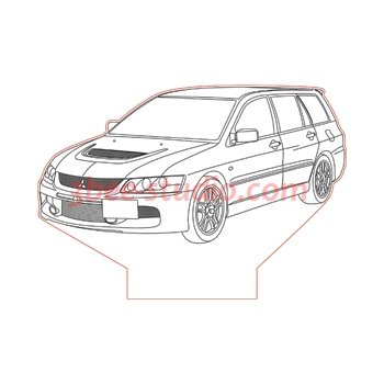 Mitsubishi Lancer Evo 9 Vagon 3d illusion lamp plan vector