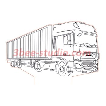 DAF XF truck 3d illusion lamp plan vector file for CNC