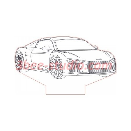 Audi R8 V10 3d illusion lamp plan vector file OP for CNC