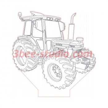 Tractor Ford 7610 3d illuson lamp plan vector file for