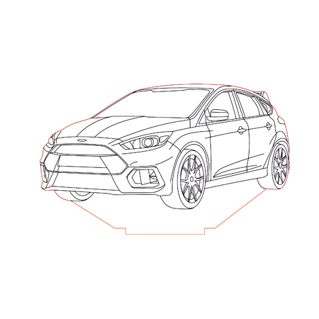 Ford focus rs 2016 3d illusion lamp plan vector file for