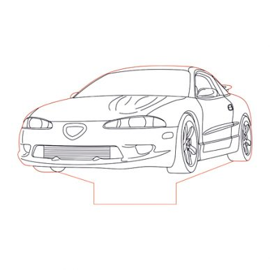 1995 Eagle Talon 3d illusion lamp plan vector file for CNC