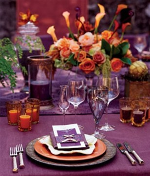 Purple and Orange Table Decor