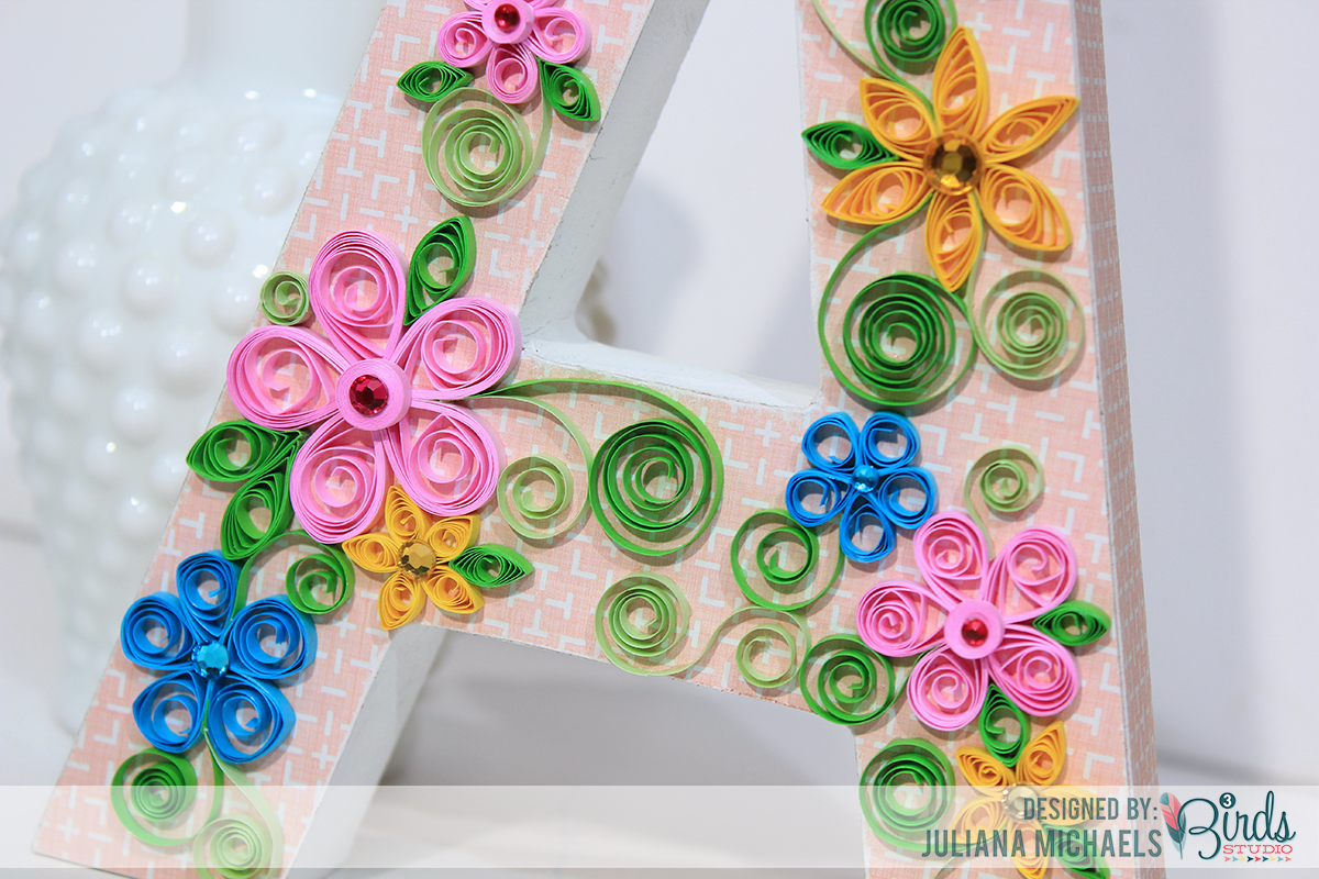 Quilled Altered Wood Letter ~ 3Birds Studio