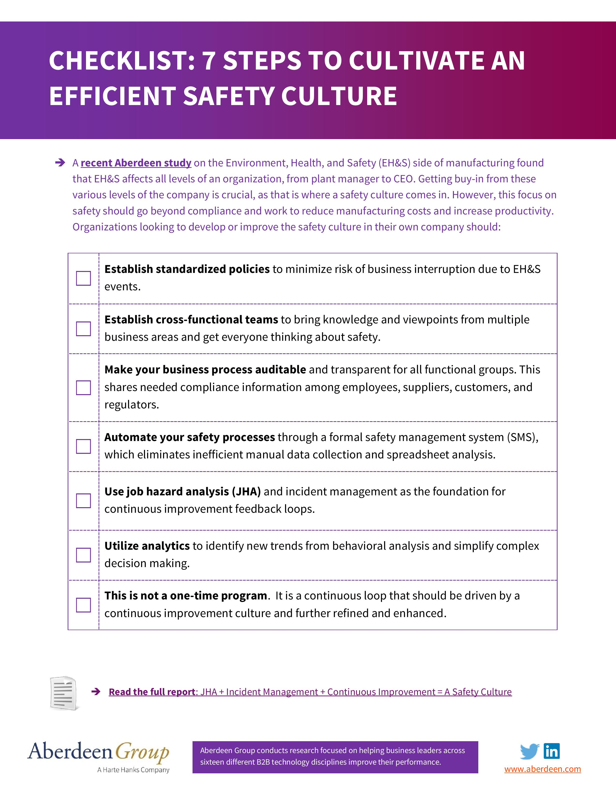 Checklist 7 Steps To Cultivate An Efficient Safety Culture