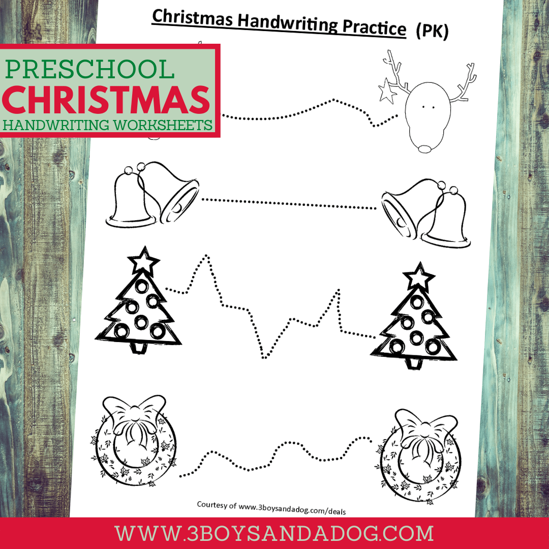 Christmas Handwriting And Coloring Page For Preschool 3