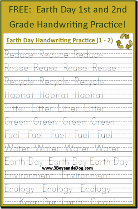 Handwriting Worksheets Pdf Grade 2 : handwriting, worksheets, grade, FREE:, Earth, Handwriting, Printables, (Grades