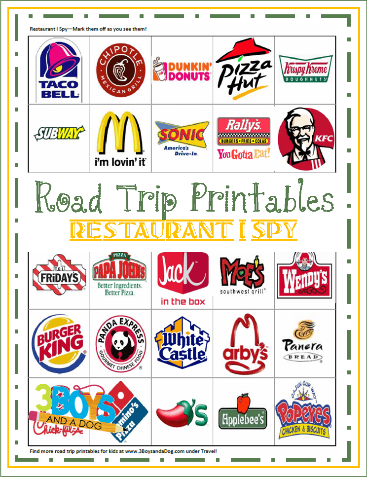 "Printable Road Trip ""Restaurant I Spy"" Game 