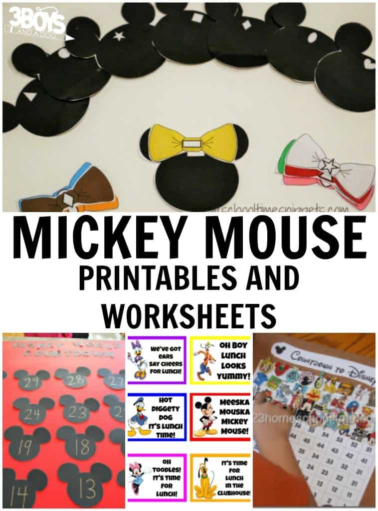 Mickey Mouse Printables And Worksheets 3 Boys And A Dog