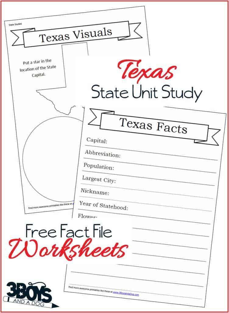 Texas State Fact File Worksheets