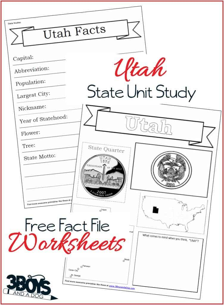 Utah State Fact File Worksheets