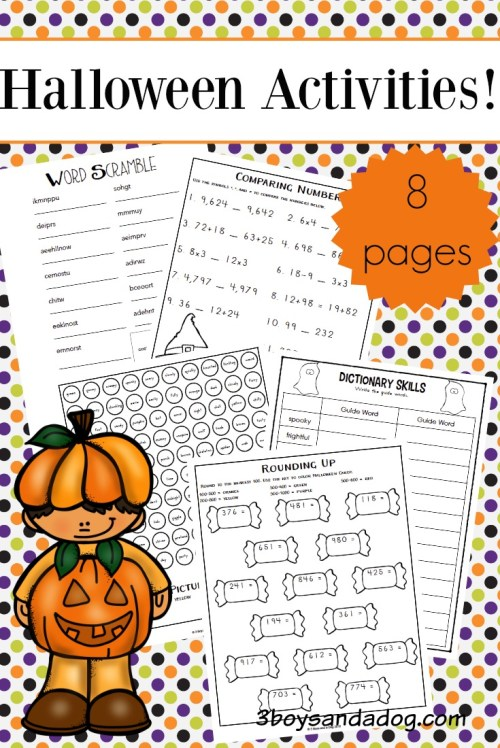 small resolution of Halloween Worksheets for Upper Elementary – 3 Boys and a Dog