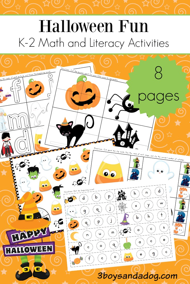 medium resolution of Halloween Math and Literacy Worksheets for K-2 – 3 Boys and a Dog