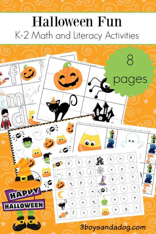 small resolution of Halloween Math and Literacy Worksheets for K-2 – 3 Boys and a Dog