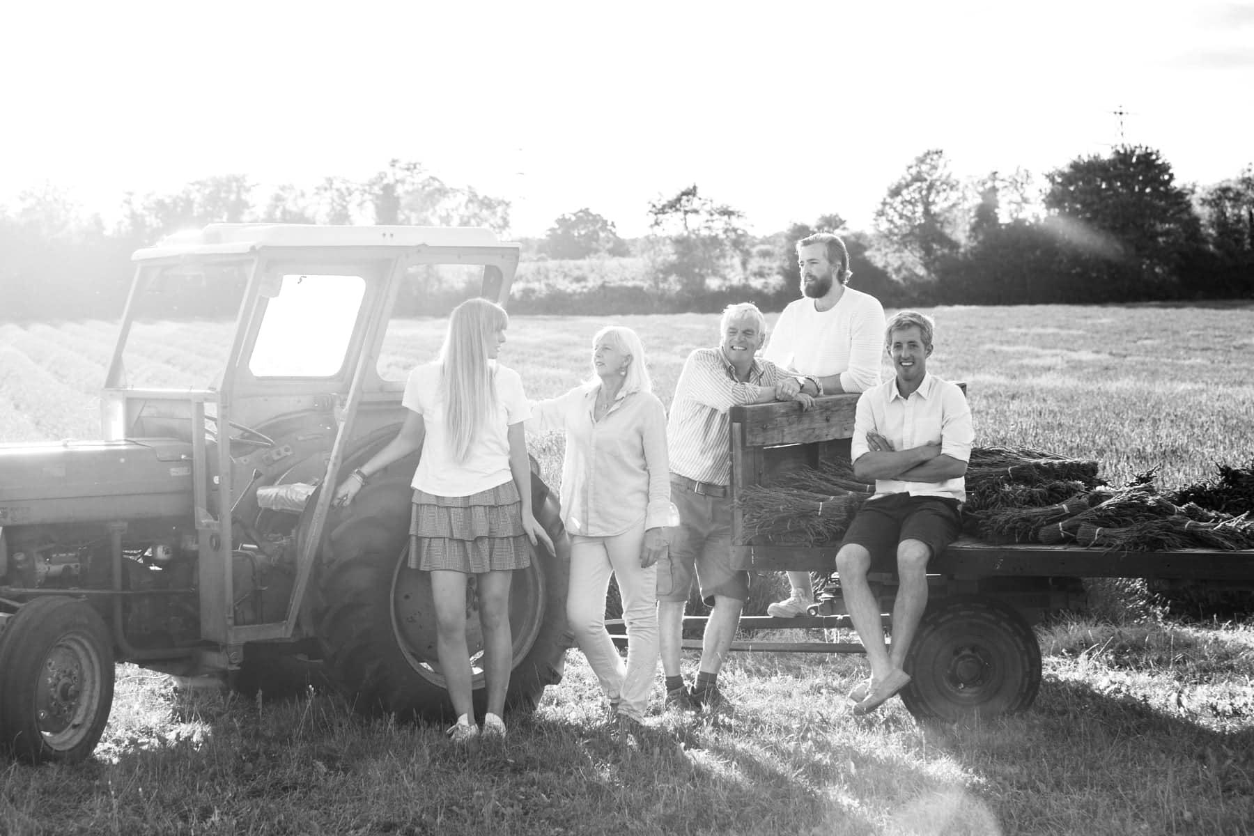 documentary image of extended family from Castle Farm Shoreham Kent at their lavender family photoshoot