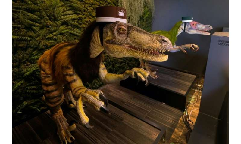 Dinosaur robots wait to check in customers at the Henn na hotel
