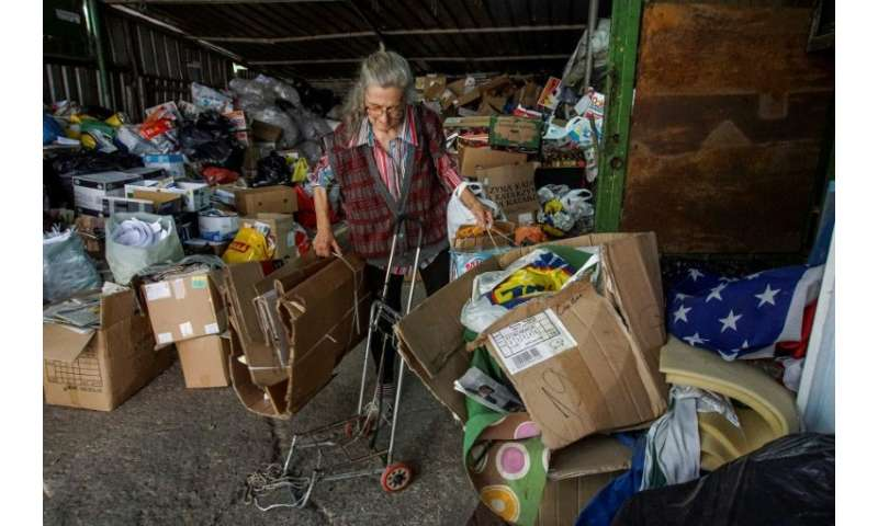 Former secretary Penka, 63, gets by collecting nylon and cardboard and handing it over to her local recycling depot in return fo