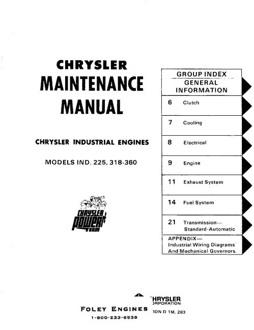 small resolution of chrysler 225 318 360 service manual