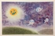 秋の絵(ハロウィン)を3色パステルアートで描いた見本です。