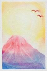 3色パステルアート冬富士山